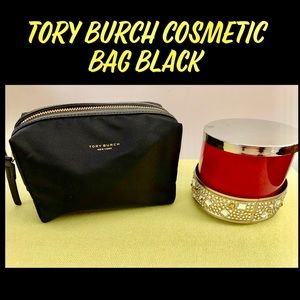 TORY BURCH PERRY NYLON SMALL COSMETIC CASE BLACK